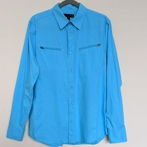 G By Guess turquoise blue button-up